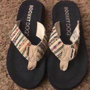 Navy Rocket Dog flip flops
